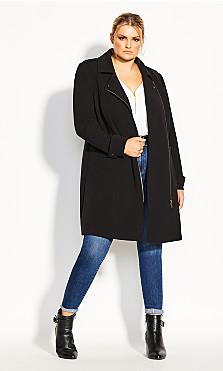 Plus Size Urban Chic Coat - black