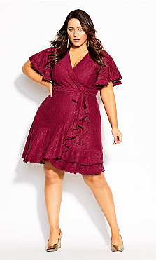 Plus Size Sweet Love Lace Dress - sangria