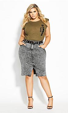 Plus Size Midi Denim Skirt - acid