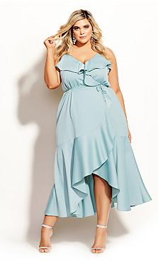 Ruffle Amore Maxi Dress - seafoam