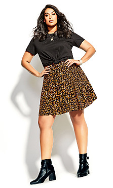 Plus Size Golden Ditsy Skirt - black