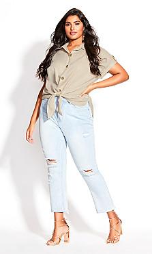 Plus Size Explore Button Shirt - amber