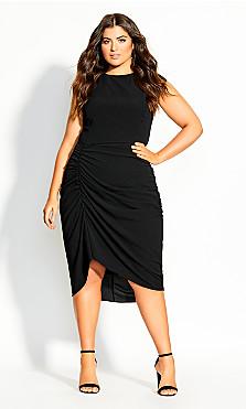 Side Ruch Dress - black