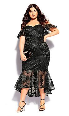 Plus Size Lace Aflutter Dress - black