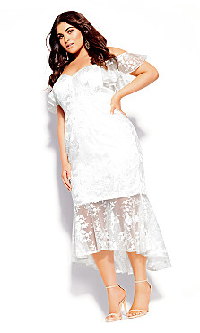 Lace Aflutter Dress - ivory