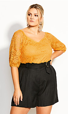 Plus Size Lace Elbow Sleeve Top - gold