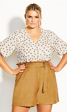Plus Size Golden Spot Top - ivory