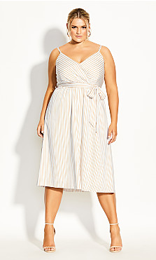 Plus Size Elegant Stripe Dress - ivory