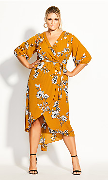 Plus Size Serene Floral Maxi Dress - gold