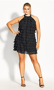 Plus Size Waterfall Dress - black