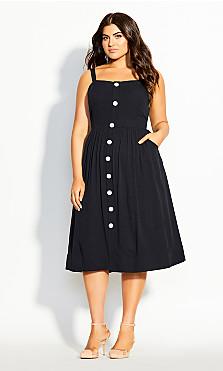 Plus Size Button Grace Dress - black