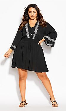 Plus Size Heart Stitch Tunic - black