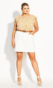 Raw Edge Skirt - ivory
