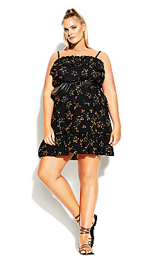 Plus Size Spring Tide Floral Dress - black