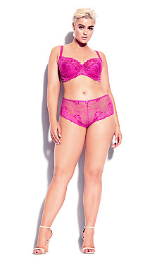 Plus Size Cosette Lace Demi Bra - hot pink