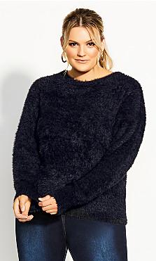 Plus Size Fluffy Jumper - black