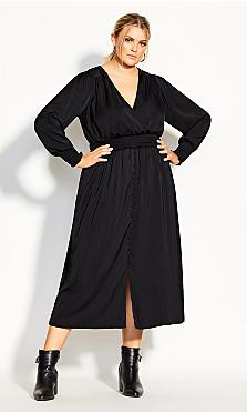 Shirred Satin Dress - black