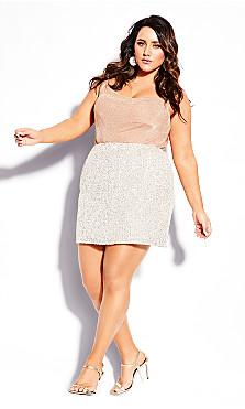 Plus Size Razzle Skirt - beige