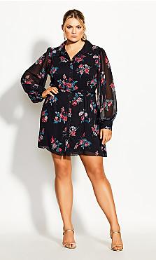 Plus Size Love Floral Tunic - black