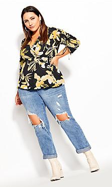 Plus Size Golden Mood Shirt - black