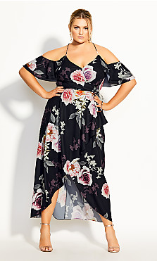 Luxe Floral Maxi Dress - black