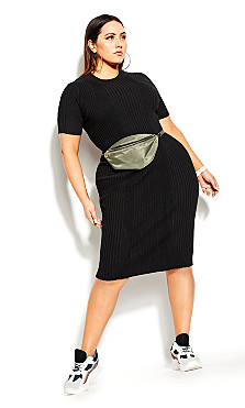 Sweater Rib Dress - black