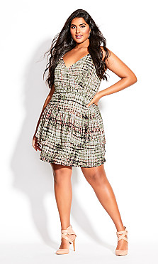 Plus Size Mirage Dye Dress - sage