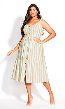 Plus Size Stripe Stroll Dress - ivory