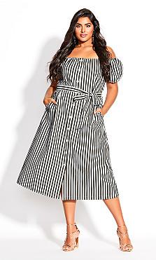 Plus Size Stripe Remix Dress - ivory