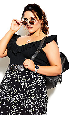 Frill Love Bodysuit - black