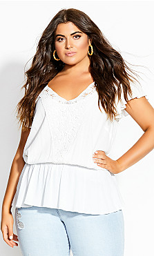 Plus Size Fiesta Fun Top - ivory