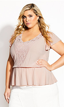 Plus Size Fiesta Fun Top - peach