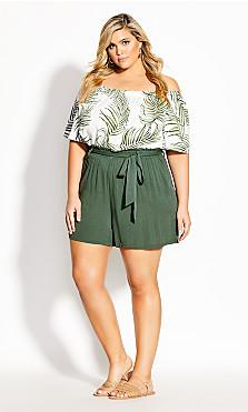 Plus Size Tropical Tie Short - jungle