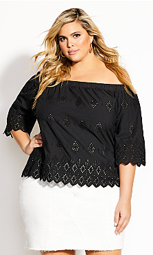 Plus Size Peakaboo Top - black