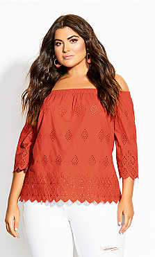 Plus Size Peakaboo Top - rust