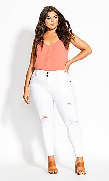 Asha Tropic Skinny Jean - ivory