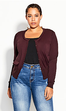 Plus Size French Kiss Cardi - plum