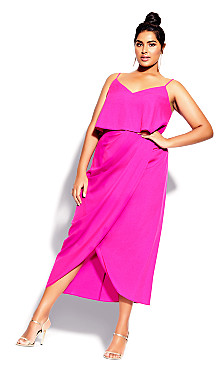 Sexy Overlay Dress - flamingo