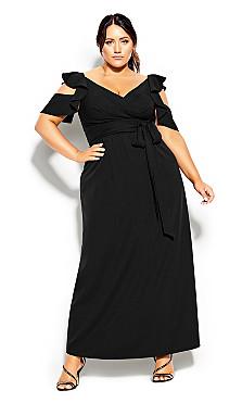 Plus Size Frill Treasure Maxi Dress - black
