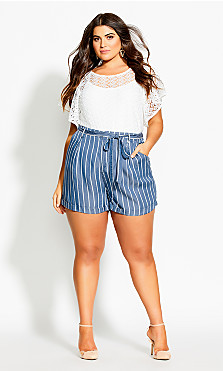 Plus Size Denim Stripe Short - chambray