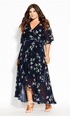 Plus Size Akita Floral Maxi Dress -  navy