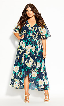 Plus Size Shibuya Floral Maxi Dress - navy