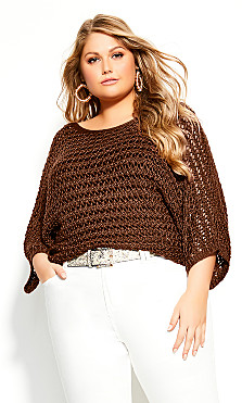 Plus Size Cool Crochet Top - mink