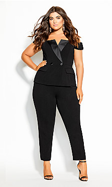 Sexy Tuxe Jumpsuit - black