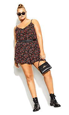 Plus Size Tartan Love Dress - black