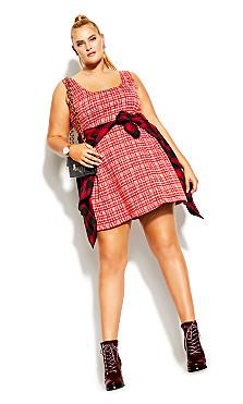 Plus Size Check Pini Dress - scarlet