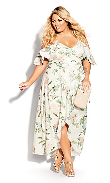 Plus Size Tender Floral Maxi Dress - ivory