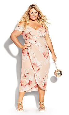 Plus Size Powder Floral Maxi Dress - powder