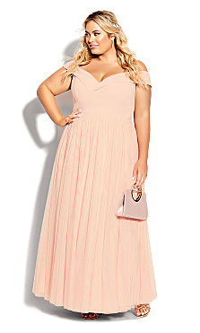 Plus Size Rippled Tulle Maxi Dress - quartz
