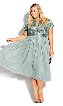 Plus Size Sparkle Joy Dress - topaz